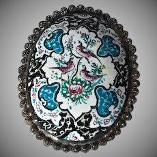 Beautiful Handpainted Iranian Enamelled Brooch