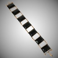 Faux Black Jet and Goldtone Bracelet