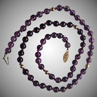 Amethysts and 12K Gold Beaded Necklace