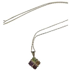Sterling Silver Pendant Necklace with Four Gemstones