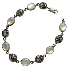 Sterling Silver Moonstone and Marcasite Bracelet