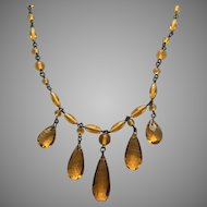 Amber Yellow Glass Beaded Drop Necklace
