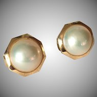 14K Gold Octagonal Mabé Cultured Pearl Earrings