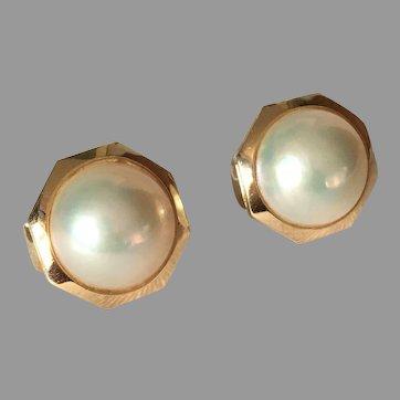 14K Gold Octagonal Mabé Cultured Pearl Earrings