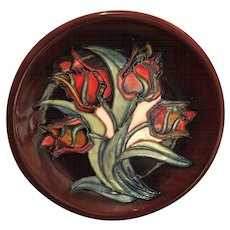 MOORCROFT Red Tulips Plate Designed By Sally Tuffin