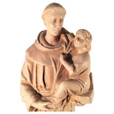 Vintage Plaster Statue of St. Anthony of Padua