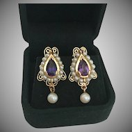 Stunning Gold Amethyst and Cultured Pearl Drop Earrings
