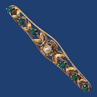 Turquoise and Cultured Pearl 14K Gold Brooch