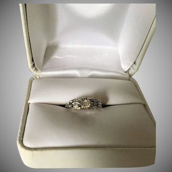 Antique 18K White Gold Diamond Ring