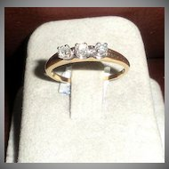 Delicate Triple Diamond 14K Gold Ring