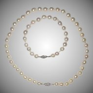 Luminescent White Cultured Pearl Necklace and Matching Bracelet