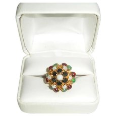 14K Gold Ring with Sapphires, Opals, Green Chalcedonies, Rubies