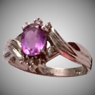 10K White Gold Ring with Oval Amethyst and Diamonds