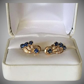 18K Gold Earrings with Vibrant Sapphires and Cubic Zirconia