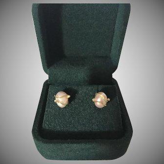 Gold Encased Cultured Pearl Earrings