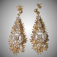 Stunning Designed Gold and Diamond Earrings