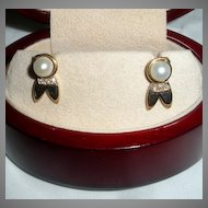 Gorgeous Pair of 14-Karat Gold Pearl and Diamond Earrings