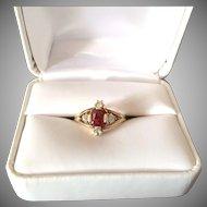 10-karat Gold Garnet and Diamond Ring