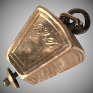 Unusual Gold Charm Pendant with Symbolic Letters
