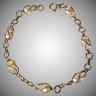 Lovely 14K Gold Bracelet with Seven CulturedPearls