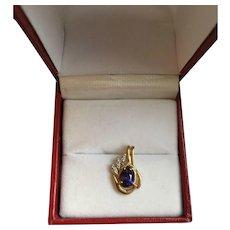 10K Gold Diamond and Amethyst Pendant