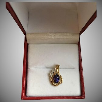 Diamond and Amethyst White and Yellow Gold Pendant