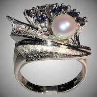 14K White Gold Ring with Sapphires and a White Cultured Pearl