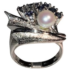 Sapphire, Pearl and 14-Karat White Gold Ring