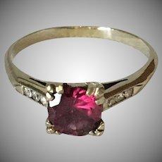 14K White Gold Deep Rose Tourmaline Ring with Diamonds