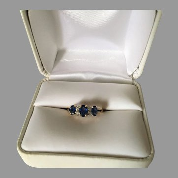 Vintage Sapphire and Diamond 10K Gold Ring