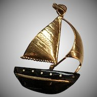 Sailboat Pendant with Black Coral and 14K Gold Sails and Embellishments