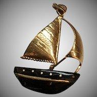 Black Coral and Gold Sailboat Pendant