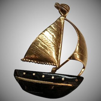 Black Coral and Gold Sailboat Pendant