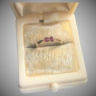 Pretty 14K Gold Ring with Two Rubies