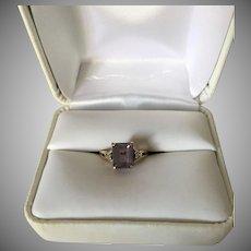 Amethyst and Diamond 10K Gold Ring