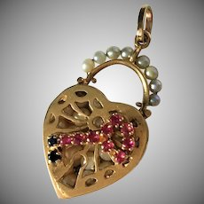 Exquisite 14K Gold Heart Charm With Ruby and Sapphire Key