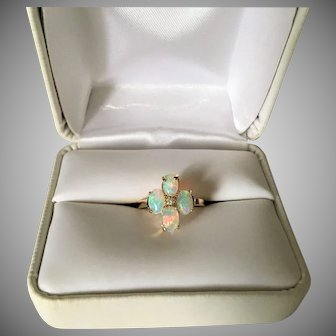 Vintage Gold Opal and Diamond Ring