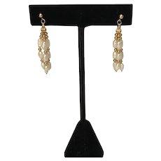 Dangling Cultured Pearl Gold Earrings