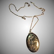 Very Large Gold-Filled Picture Locket Pendant Necklace