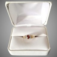 10K Gold Ring with Garnet and Diamonds