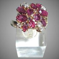 FIne 14K Pink Sapphire and Diamond Ring