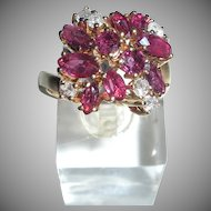 FIne 14K Pink Sapphire and Diamond Ring