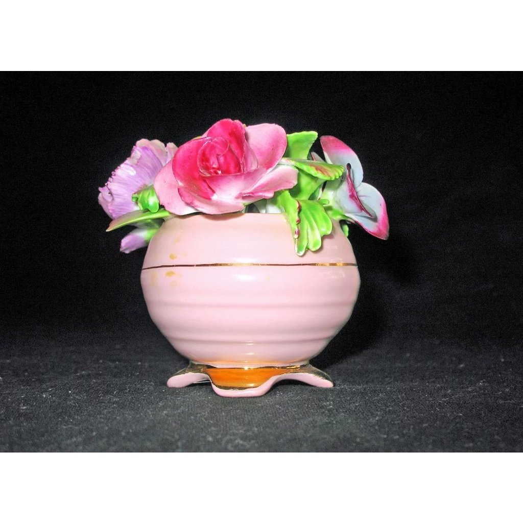 Adorable Bone China Pink Flower Pot By Radnor Kcs Antiques