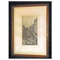 St. James Street, London Etching & Dry Point by Whistler- Signed: Butterfly Signature