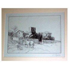 Le Mur du Presbytere Etching by Alphonse Legros