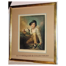 Boy & Rabbit after Sir Henry Raeburn, colored mezzo-tint engraving by E. Milner 1928