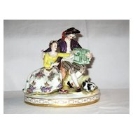 Dresden Group Figurine; Young Lady and Lad with Birdcage & Dog