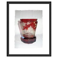 Bohemian Ruby Red Glass Beaker, Hunting Scene