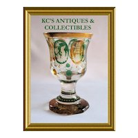 Bohemian Glass Goblet with eight Whimsically Decorated Panels