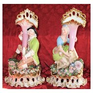 Jacob Petit Figurines  Gentleman & Lady Cornucopia Vases, circa mid 19th Century